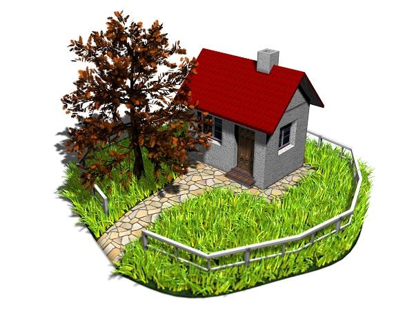 Haus mit Gartenzaun als Explosionszeichnung