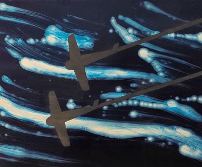 Turbolenza, enamel on canvas 70 x 100 cm
