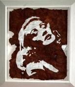 Walnuss Maser Furnier, lackiert. Fichtenrahmen, weiß lasiert. Walnut Burl veneer painted, white stained Spruce frame. 87cm x 77cm x 12cm