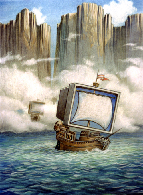 Old computers don't die, they just sail away. Pastel. By Gary Whitley.