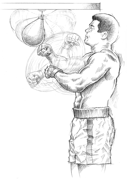 Muhammad Ali speed bag sketch for museum exhibit.