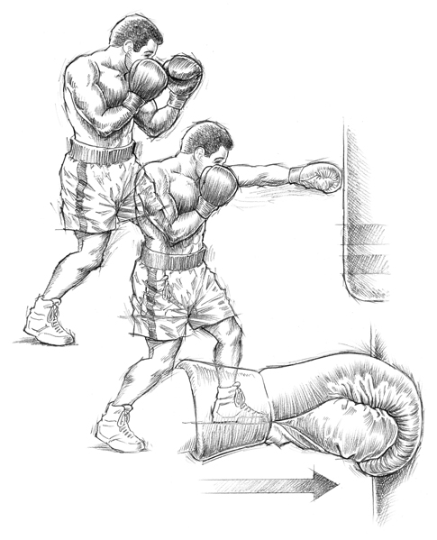 Muhammad Ali sequential pencil sketch of left jab stance.