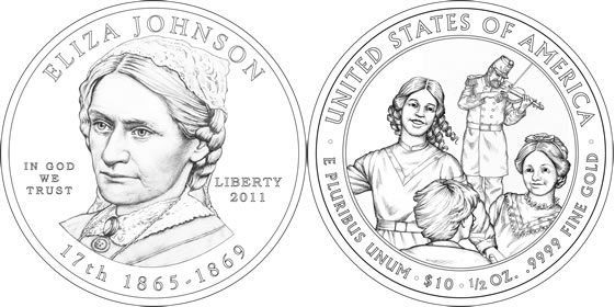 Design for Eliza Johnson First Spouses 1/2 ounce gold coin. Illustration and design. Gary Whitley.