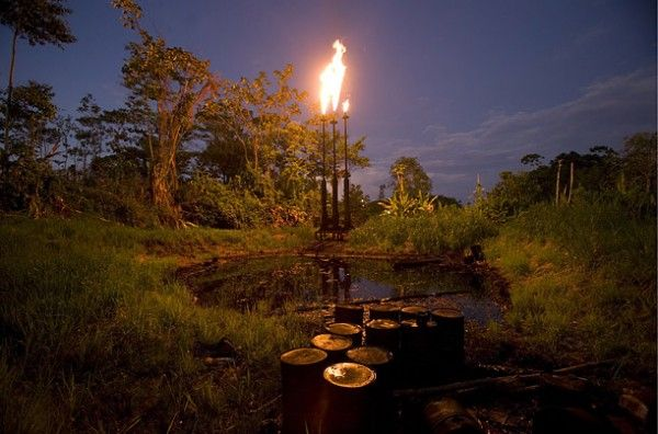 Oil flare at night