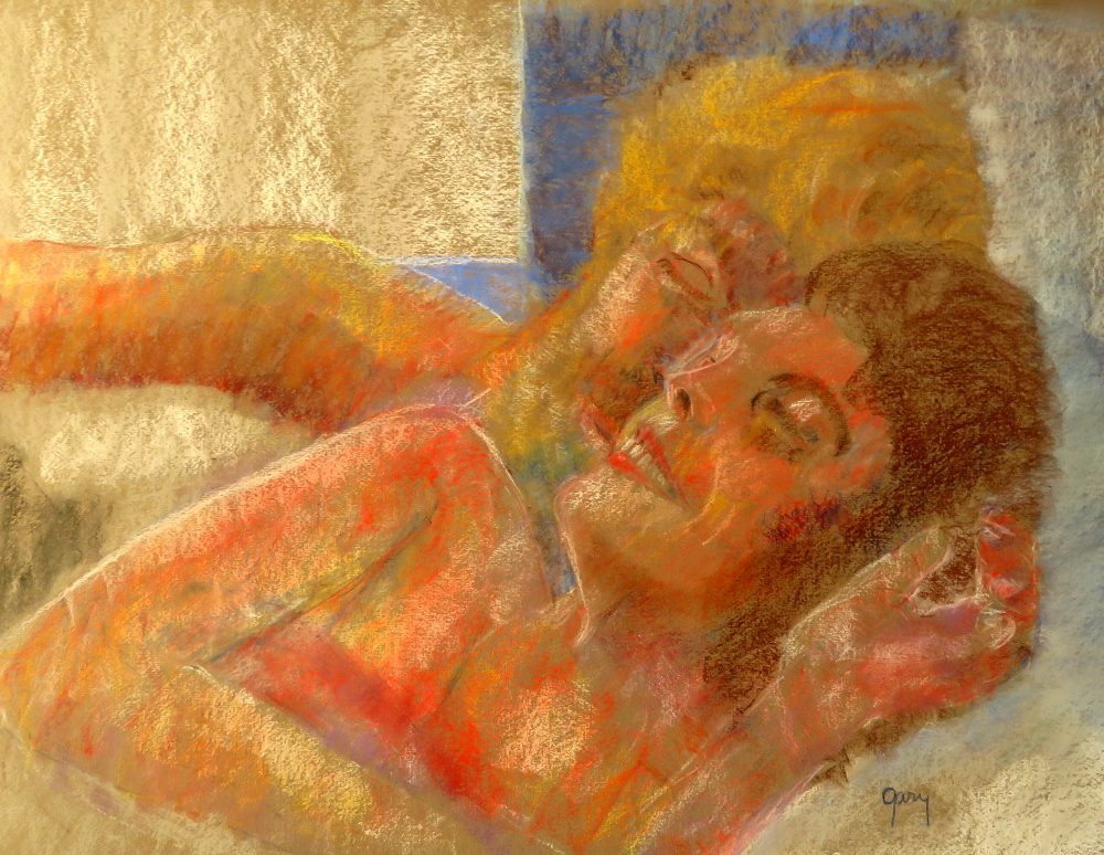 """Couple Snuggling in Bed, pastels, 65 x 50 cm/25.5 x 20"""""""