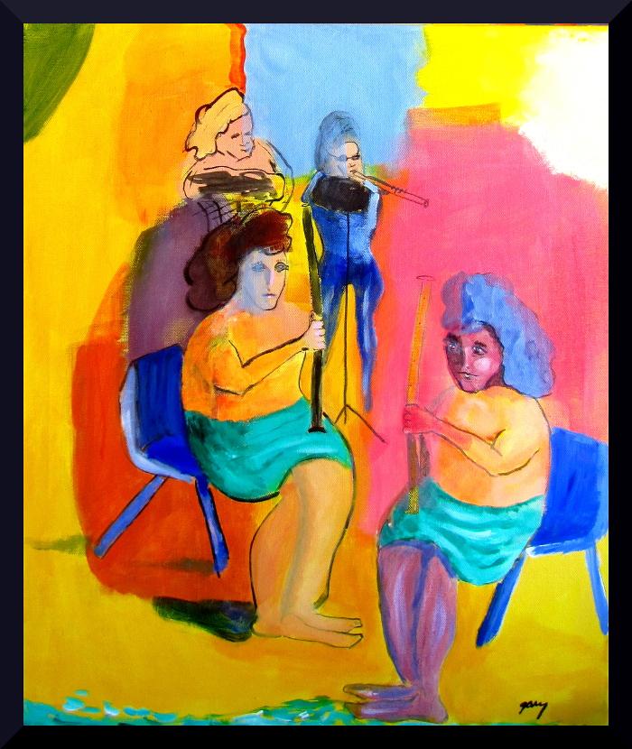 """Fantasy Quartet 5o x 60 cm;19.5 x 23.50 x .75 x.75"""" acrylics on canvas"""