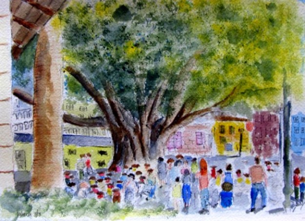 Park Crowd Scene, foot of Calle La Paz, Valencia, watercolor, A3/ 8.25 x 11.5