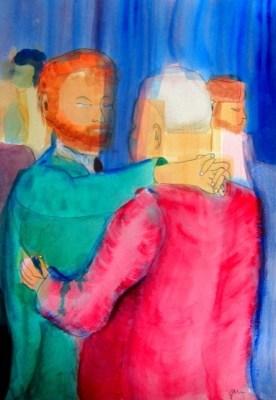 Two Men Dance, acrylics, 30 x 42 cm, 11.5 x 16.5