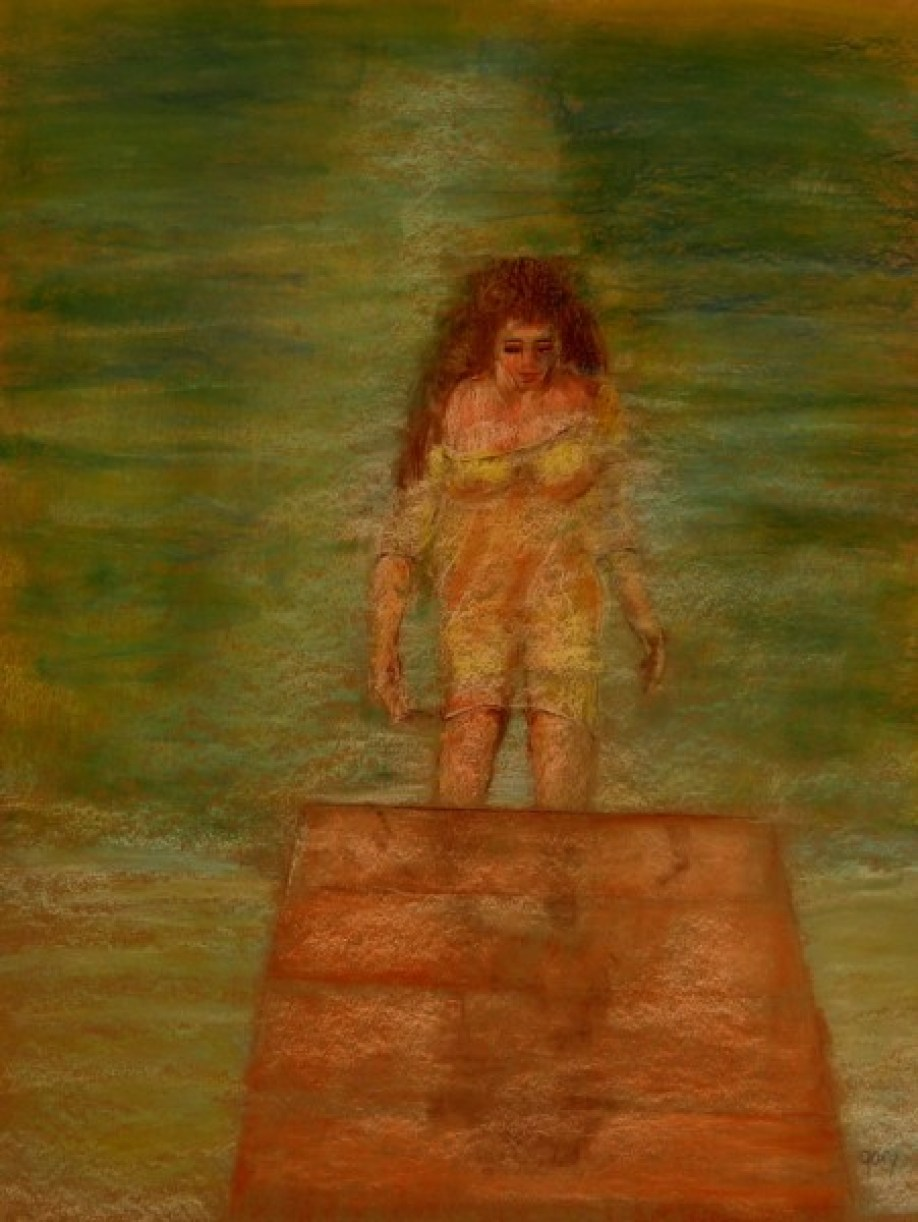 "Woman Climbs From Water , pastels, 50 x 65 cm, 20 x 25"" (untrimmed)"