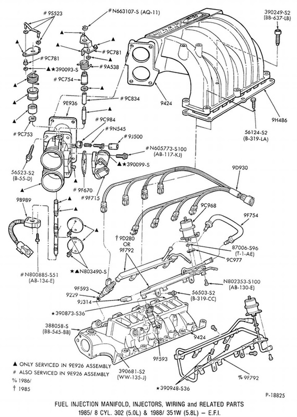 1988 and on 460 fuel injection manifold injectors wiring related parts