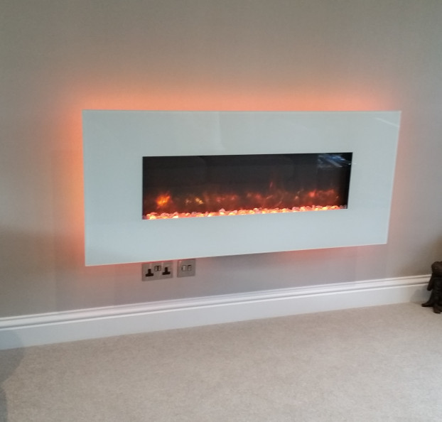 Radiance electric fire with white glass trim