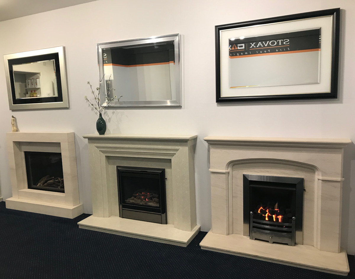 Selection of limestone fireplaces in our showroom