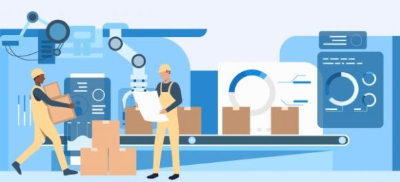 People working at factory landing pages. Operational workers, conveyor belt, assembly line. Industry concept. Vector illustration for topics like production, machine, blue color