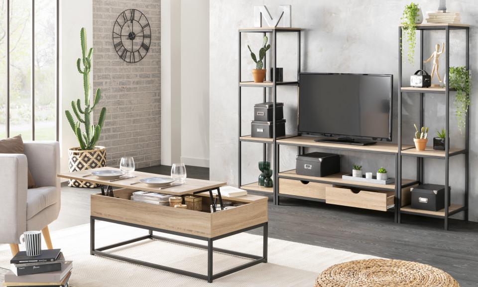 table basse plateau relevable meuble tv etageres manufacture
