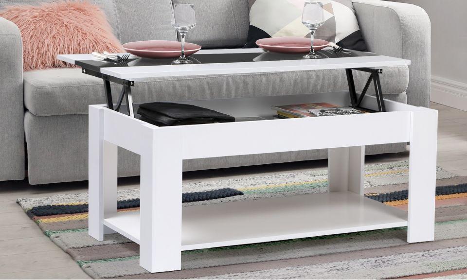 table basse plateau relevable gloria blanc gris