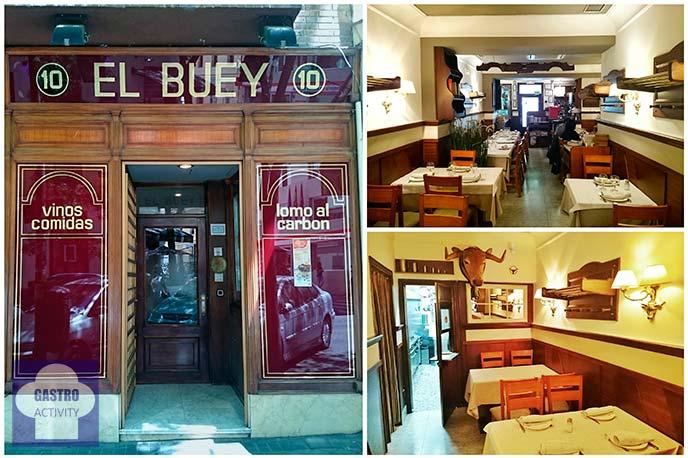 Fachada e interior del Restaurante El Buey