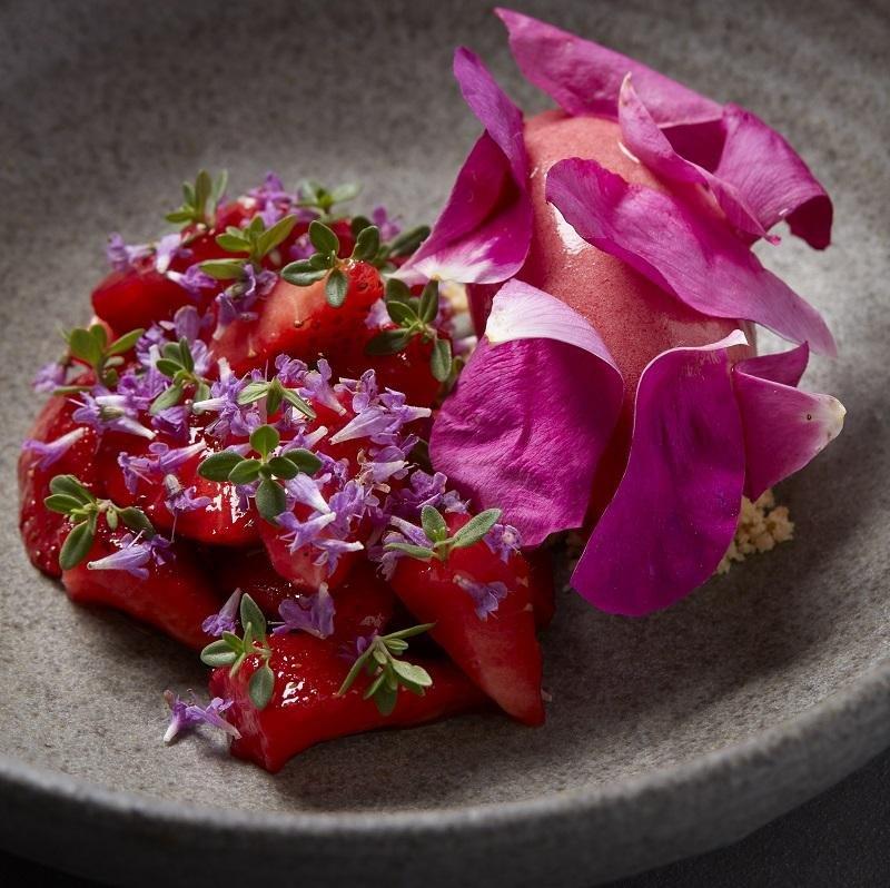 Jordbærsorbet med honningmarinerede jordbær