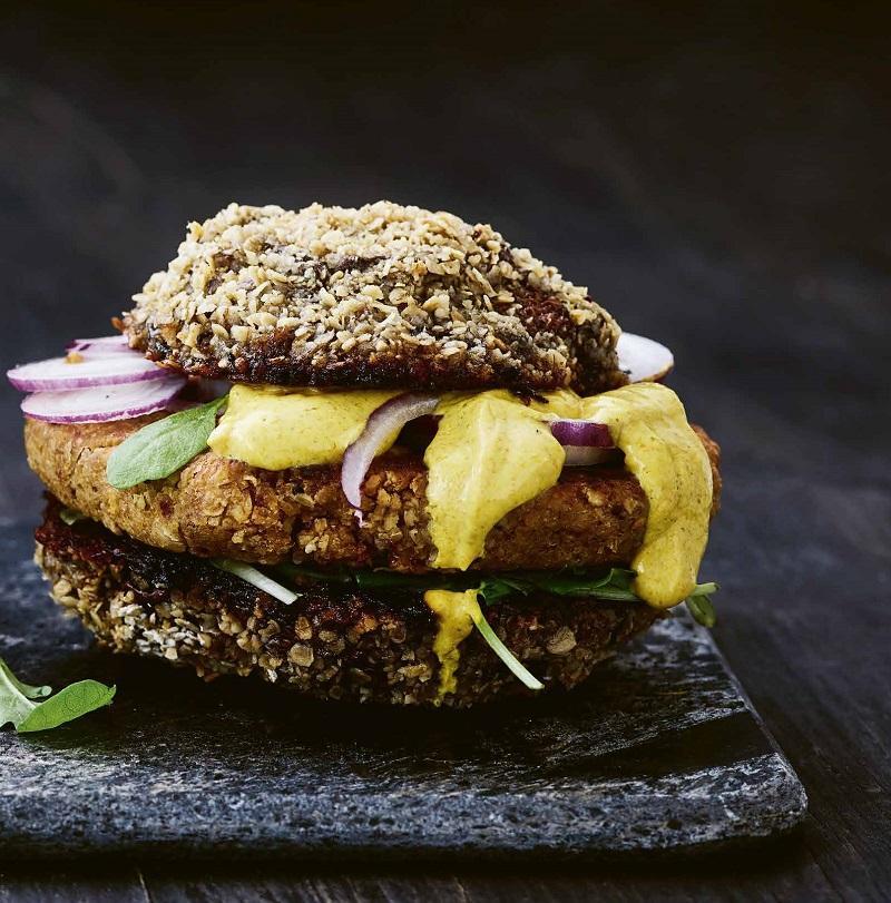Vegetarburger med portobelle og kikærtebøf