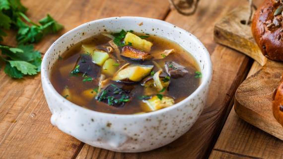 Mushroom soup with eggplant