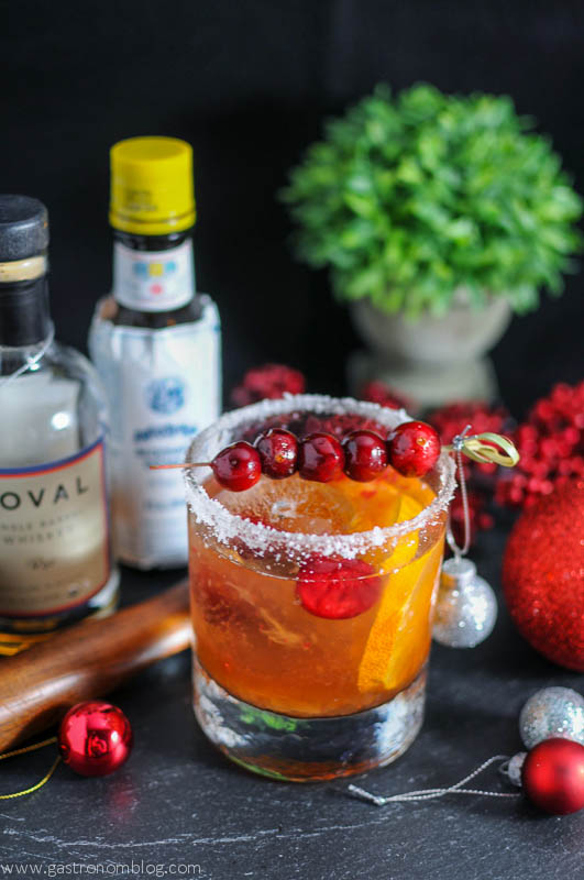 Christmas Old Fashioned - A Rye Cocktail with Cranberry Syrup