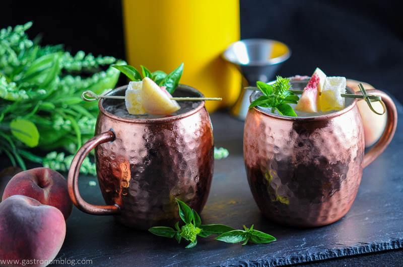 Peach and Basil Moscow Mule