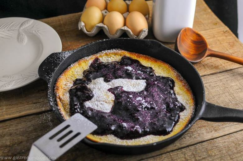Dutch Baby Pancake with Blueberry Whiskey Sauce