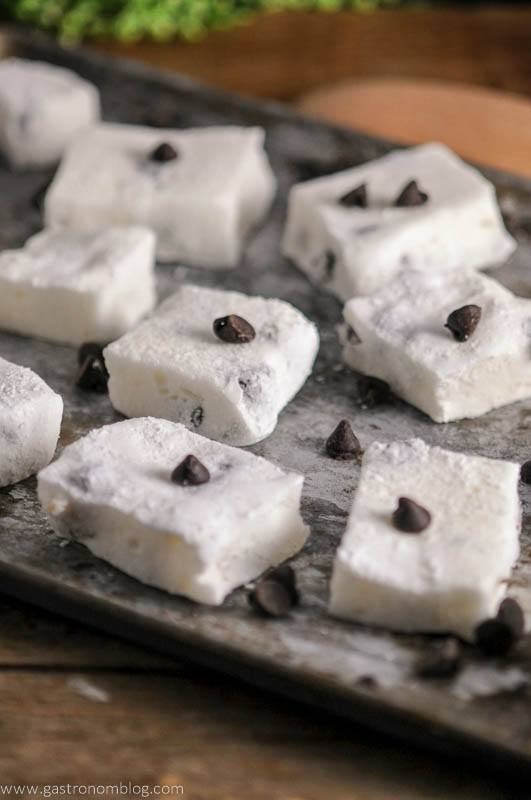 Chocolate Chip Boozy Marshmallows on cookie sheet