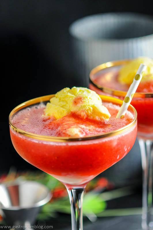 Strawberry Rhubarb Daiquiri Float - A Rum Dessert