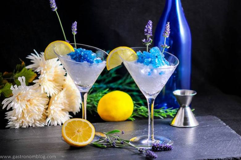 Lavender Lemon Gin and Tonic Granita Cocktail