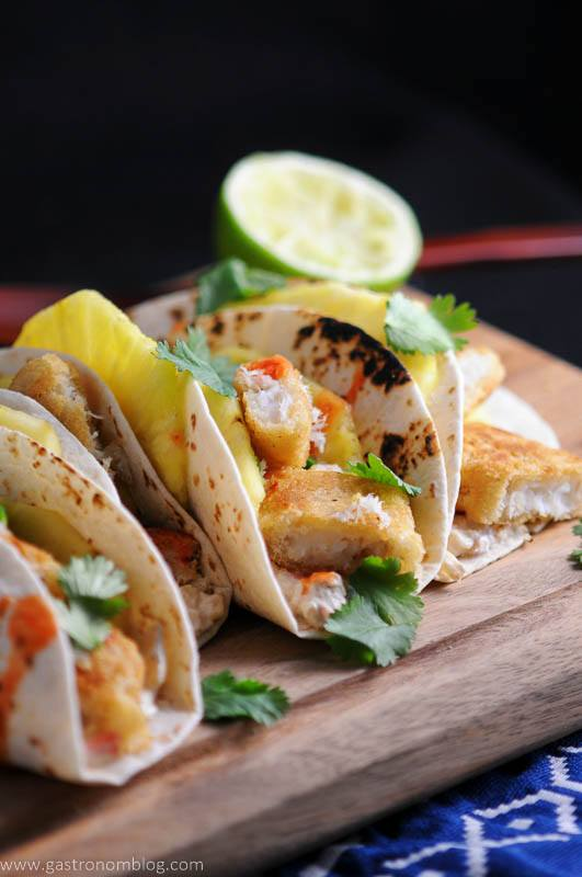 Pub Style Cod fillets from World Port Seafood are the fish in Spicy Fish Tacos with Rum soaked pineapple slices and fresh lime and cilantro.