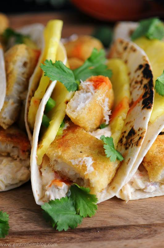 Pub Style Cod fillets from World Port Seafood are the fish in Spicy Fish Tacos with Rum soaked pinepple slices and fresh lime and cilantro.
