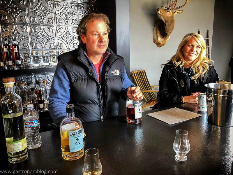 Fred Groth pours out samples of spirits in Prohibition Spirits' tasting room.