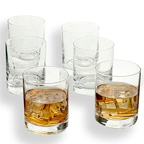 Rock Style Old Fashioned Whiskey Glasses 11 OZ,100% Short Glasses For Camping/Party,Set of 6 (6-pack)