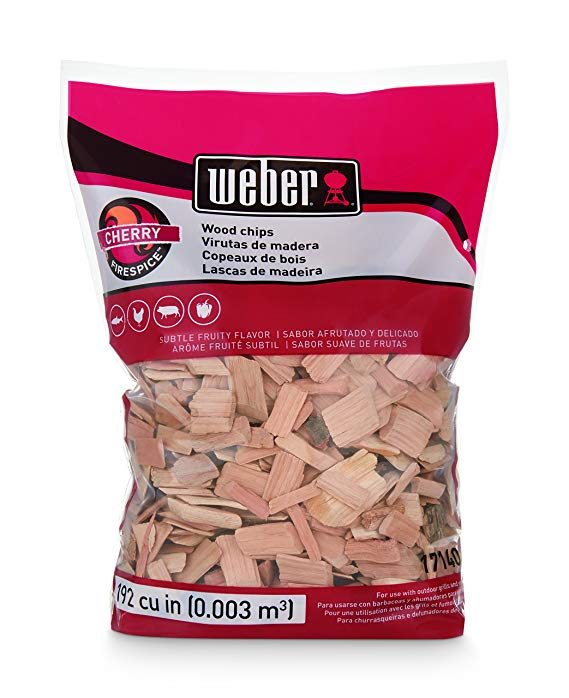 Weber-Stephen Products 17140 Cherry Wood Chips, 192 cu. in. (0.003 cubic meter)