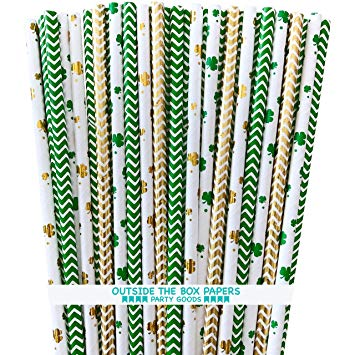 Shamrock and Chevron Irish Theme Paper Drinking Straws - St Patrick's Day Supply - Green and Gold Foil - 100 Pack - Outside The Box Papers Brand