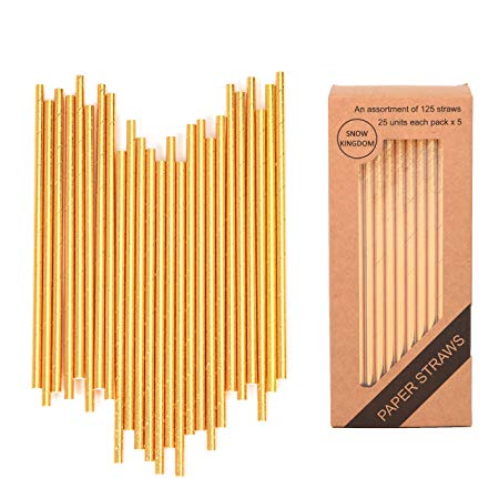 125 PCS Gold Paper Straws Metallic Drinking Decoration Eco friendly Disposable - Boxed 5 Individual Pack of 25 Units Each