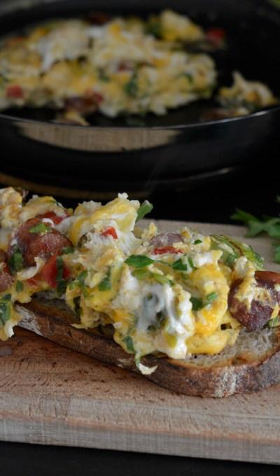 My Scrambled Eggs on Sourdough Toast /  Бъркани яйца по селски върху хляб с квас