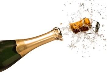 Bouteille de champagne verte