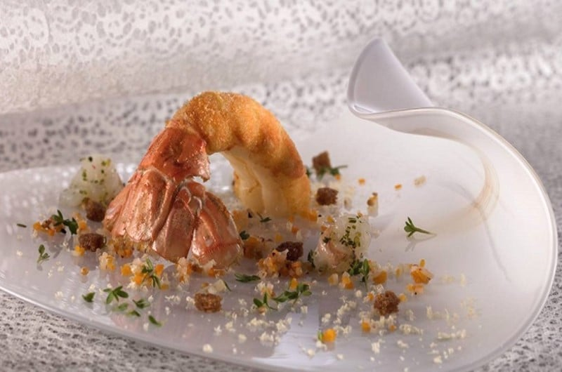 Queue de langoustine en tempura