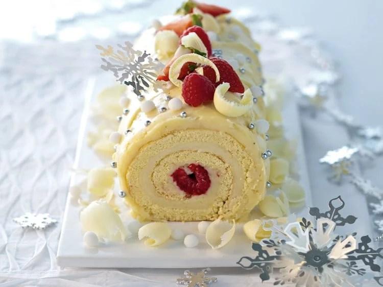 Bûche de Noël au chocolat blanc