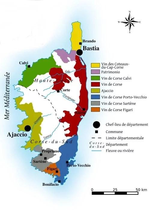 Régions viticoles de Corse