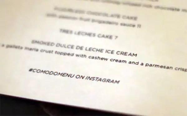 Complemento para la carta del restaurante
