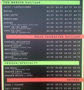 mojo coffee menu