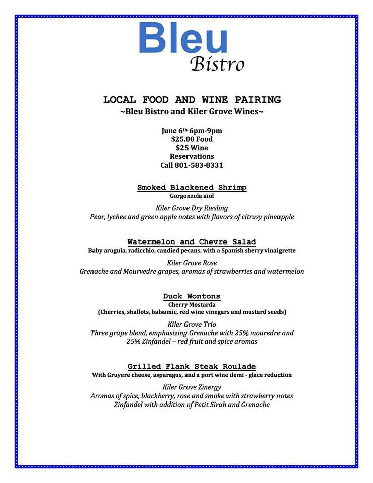 bleu bistro kiler grove wine dinner menu 2015