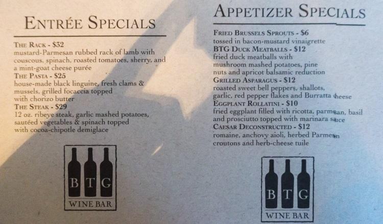 btg wine bar new menu