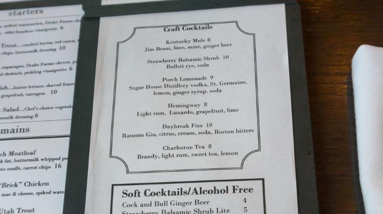 porch cocktail menu