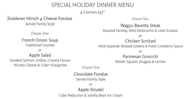 goldener hirsch inn holiday dinner menu