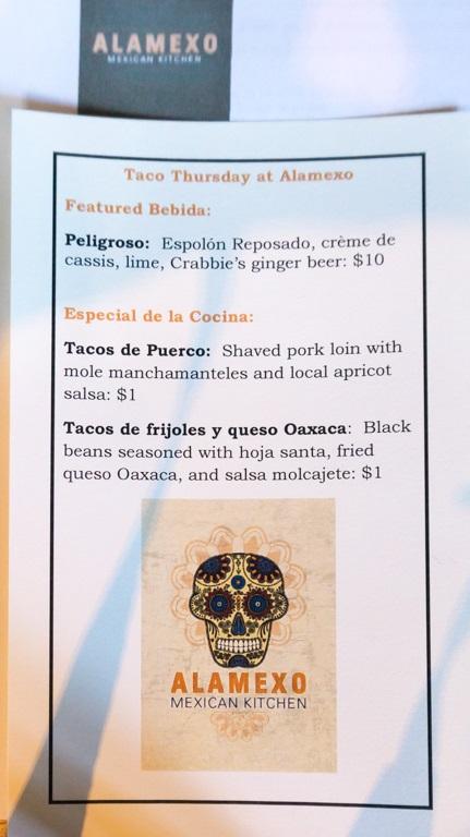 Alamexo: Thursday bar taco menu
