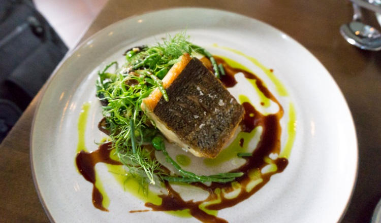 HSL - trout with favas, English peas , snap peas, garlic scapes, sea beans, morels and bordelaise