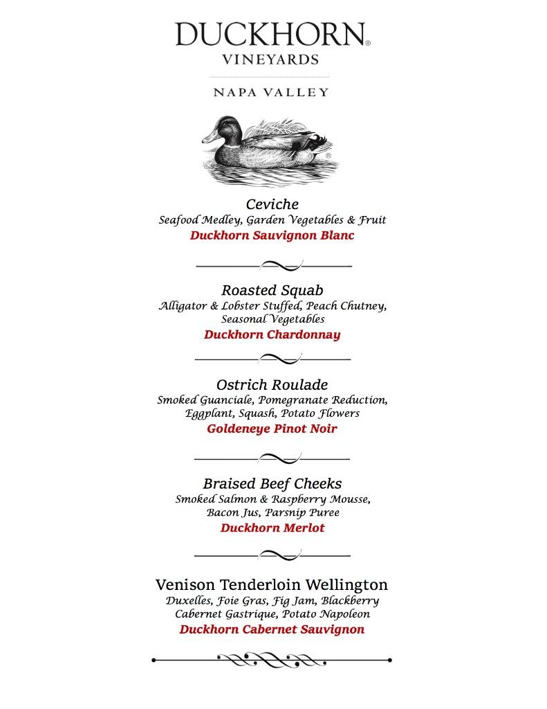 Spencer's: Duckhorn Vineyards pairing menu